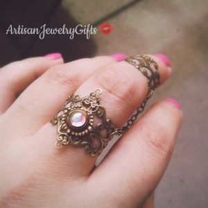 Victorian Moonstone Armor Ring Chain Ring Set